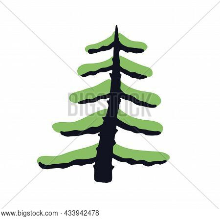 Simple Doodle Fir Tree With Trunk And Branches. Naive Childish Drawing Of Firtree. Primitive Botanic