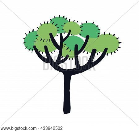 Simple Doodle Tree With Trunk And Leaf On Branches. Naive Childish Drawing Of Abstract Forest Plant