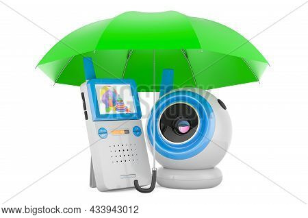 Baby Cam And Audio Baby Monitor Under Umbrella, 3d Rendering Isolated On White Background
