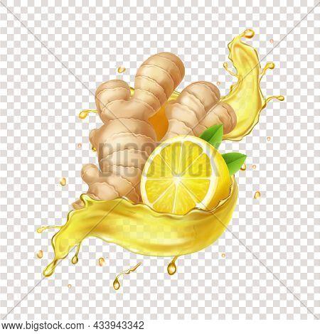 Ginger Tea Splash. Ginger Root, Lemon Realistic In Yellow Splashing Tea Or Ale Vector Illustration