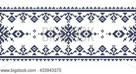 Zmijanje Cross Stitch Style Vector Folk Art Seamless Lonng Horizontal Pattern - Textile Or Fabric Pr