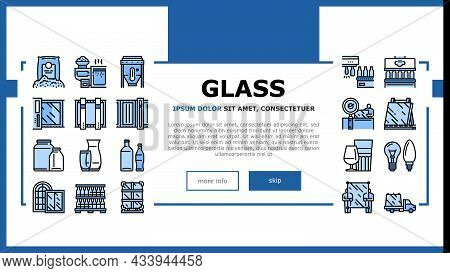 Glass Production Plant Landing Web Page Header Banner Template Vector. Glass Bottle And Vase, Jar An