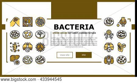 Bacteria Infection Landing Web Page Header Banner Template Vector. Candida Bacteria And Plague, Canc