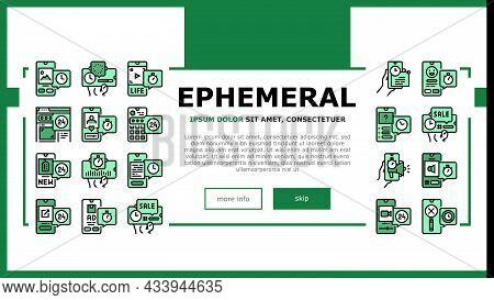 Ephemeral Content Landing Web Page Header Banner Template Vector. Social Media Story And Photography