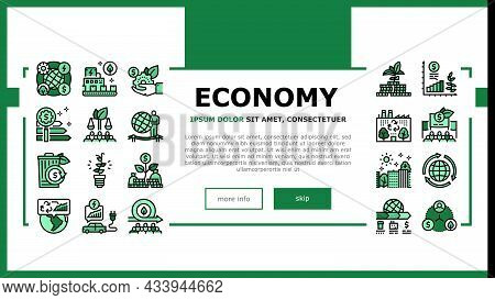 Green Economy Industry Landing Web Page Header Banner Template Vector. Energy Saving Electrical Tran