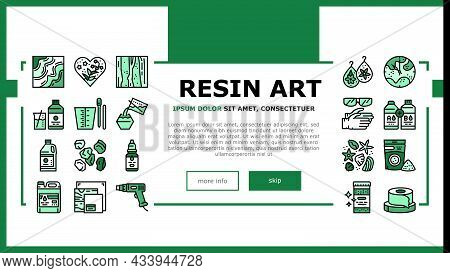 Resin Art Creation Landing Web Page Header Banner Template Vector. Chemical Liquid And Powder, Scotc