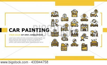 Car Painting Service Landing Web Page Header Banner Template Vector. Car Painting And Fixing, Plasti