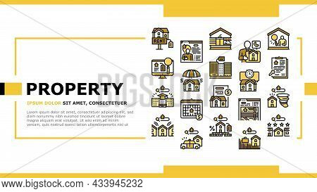 Property Rental Agency Landing Web Page Header Banner Template Vector. Signing Contract And Payment