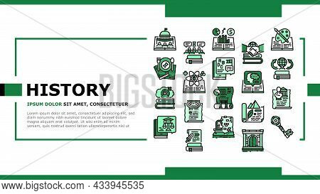 History Learn Educational Landing Web Page Header Banner Template Vector. Environmental And Art, Pol