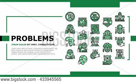 Social Public Problems Worldwide Landing Web Page Header Banner Template Vector. Children And Ageing