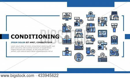 Conditioning System Electronics Landing Web Page Header Banner Template Vector. Conditioning System