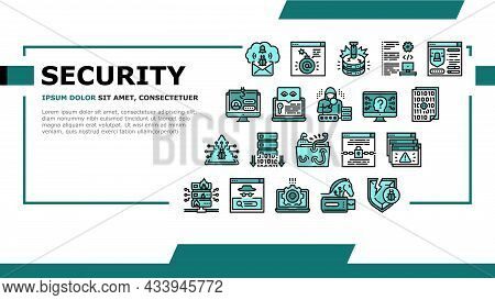 Cyber Security System Technology Landing Web Page Header Banner Template Vector. Cyber Security Soft