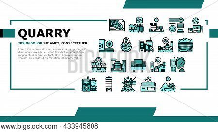 Quarry Mining Industrial Process Landing Web Page Header Banner Template Vector. Quarry Mining Equip