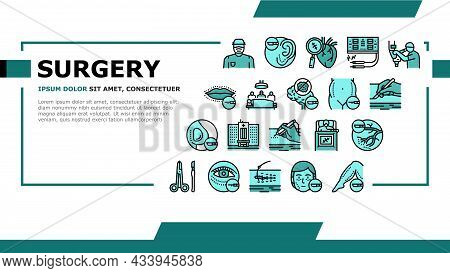 Surgery Medicine Clinic Operation Landing Web Page Header Banner Template Vector. Lips And Facial Pl
