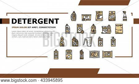 Detergent Organic Laundry Soap Landing Web Page Header Banner Template Vector. Detergent Gel Contain