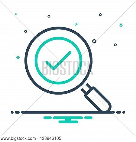Mix Icon For Found Exploration Solution Analyzing Magnifying-glass Check-mark Loupe Magnification Di
