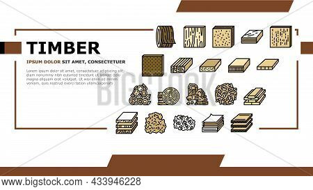 Timber Wood Industrial Production Landing Web Page Header Banner Template Vector. Fiber Board And Ro