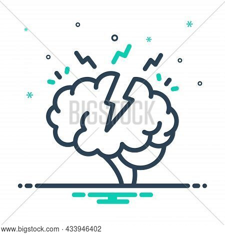 Mix Icon For Stress Tension Strain Exertion Serious Solemn Critically Headache Nervous Disease Mind