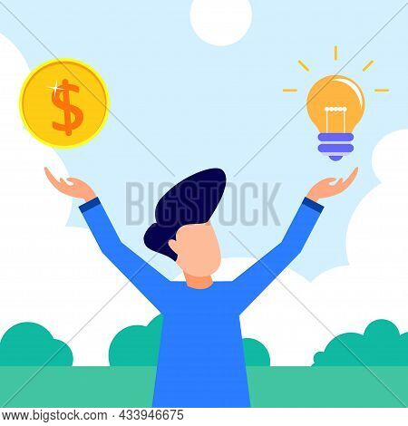 Flat Style Vector Illustration.money Idea As A Businessperson's Financial Innovation Price Evaluatio