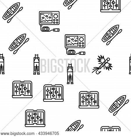 Fishing Shop Products Vector Seamless Pattern Thin Line Illustration