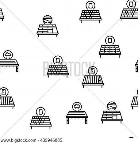 Roof Replacement Job Vector Seamless Pattern Thin Line Illustration