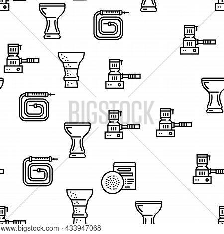 Hookah Tobacco Smoking Vector Seamless Pattern Thin Line Illustration