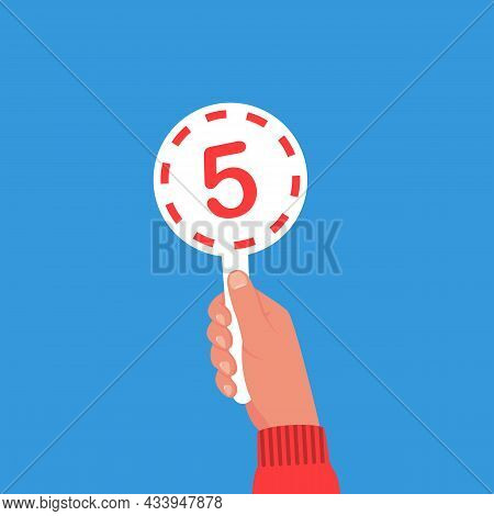Score Card 5. Number Table. Digit Rating On A Scorecard. Human Hand Holding Score Card. Colored Scor