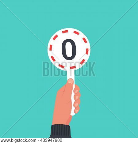 Score Card 0. Number Table. Digit Rating On A Scorecard. Human Hand Holding Score Card. Colored Scor