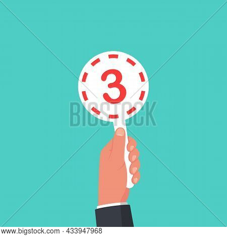 Score Card 3. Number Table. Digit Rating On A Scorecard. Human Hand Holding Score Card. Colored Scor