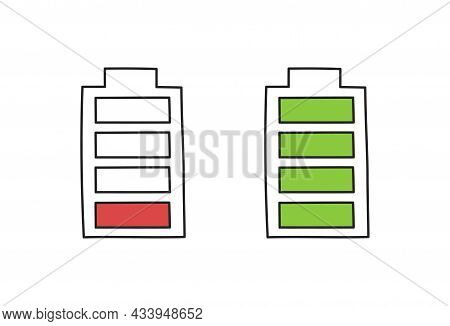 Battery Charge In Doodle Style, Vector Illustration. Hand Drawn Sketch, Energy Level Low And Full. I