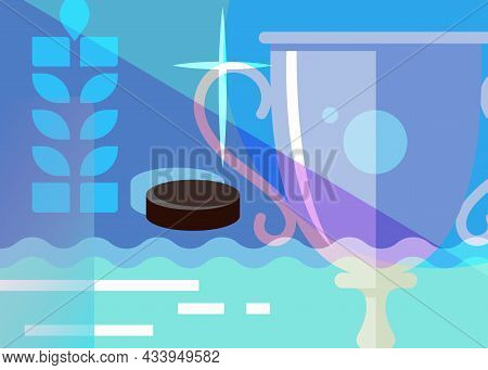 Hockey Banner With Sport Cup. Placard Design In Abstract Style.