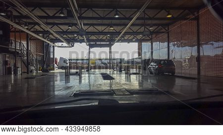 Olivenza, Spain - Dec 5th, 2020: Vehicule Inspection Facilites Indoors. Center To Support Law Requir