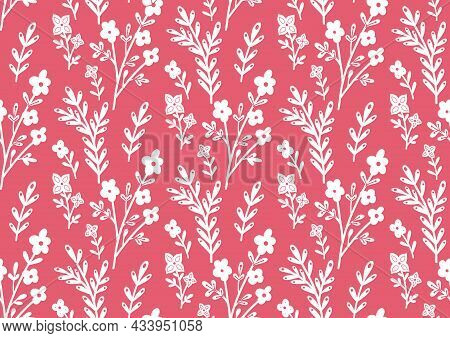 Seamless Monochrome Pattern With White Contour Of Flowers And Branches On Pink Background. Silhouett