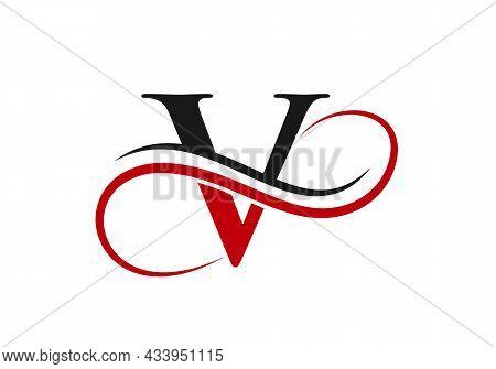 Initial Letter V Modern Shape Logo Design Template. V Logo With Creative Curved Vector Illustration.
