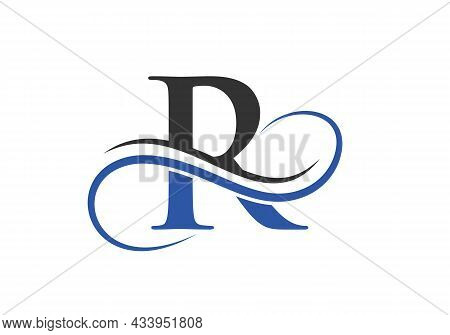 R Logo With Creative Curved Vector Illustration. Initial Letter R Modern Shape Logo Design Template