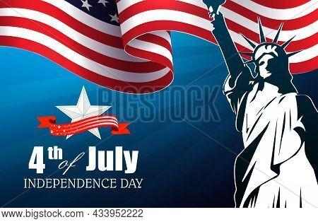 Blue Illustration With Waving Usa Flag, Star Shape, Independence Day, Design Element.