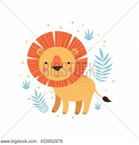 Illustration Of Lion And Tropical Leaves. Vector Illustration For Textile, Nursery Interiors, Kids F