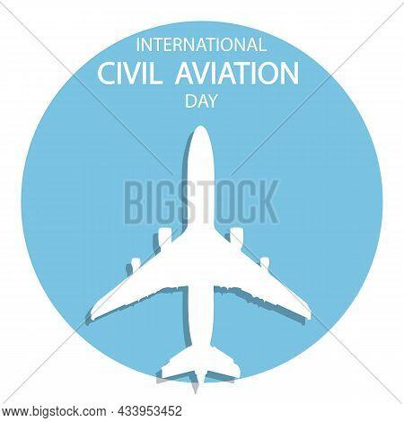 The Plane On The Banner For The International Civil Aviation Day, Vector Art Illustration.