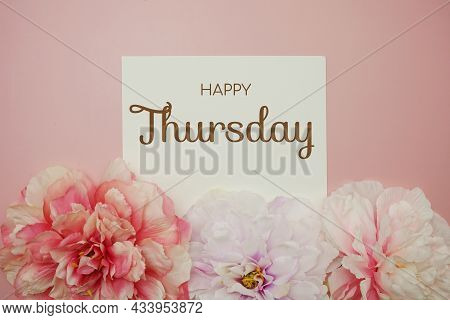 Happy Thursday Typography Text With Flower Decor On Pink Background