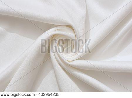 White Fabric Texture Background Luxury Cloth Or Liquid Wave Or Wavy Folds Of Grunge Silk. Wavy Fabri