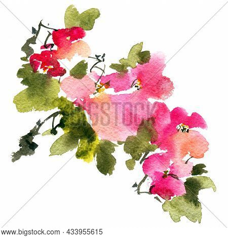 Watercolor And Ink Illustration Of Blossom Tree With Pink Flowers, Buds And Leaves. Oriental Traditi