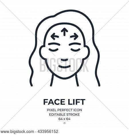 Face Lift And Anti Wrinkle Concept Editable Stroke Outline Icon Isolated On White Background Flat Ve