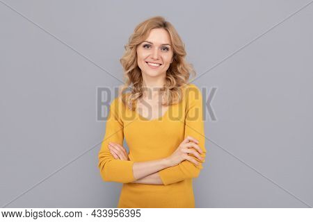 In Good Mood. Pretty Look Of Young Smiling Girl. Blonde Woman. Blond Woman Portrait