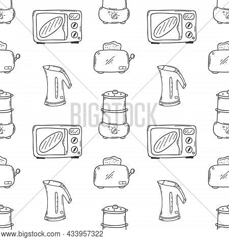 Seamless Pattern With Kitchen Appliances. Microwave, Kettle, Toaster, Steamer. A Monochrome Backdrop