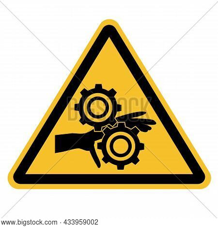 Pinch Point Entanglement Crush Gears Icon On White Background. Caution Symbol. Flat Style.