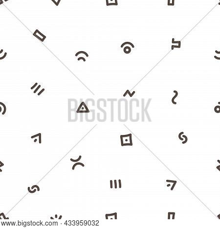 Seamless Abstract Pattern On White Background. Vector Doodle Image. Graphic Linear Wallpaper.