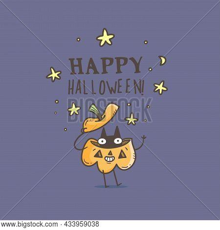 Doodle Card With Cute Cartoon Cat And Pumpkin. Fabulous Fictional Characters. Halloween Cartoon Post