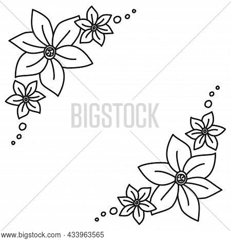 Black And White Ornate Botanical Template With Copyspace
