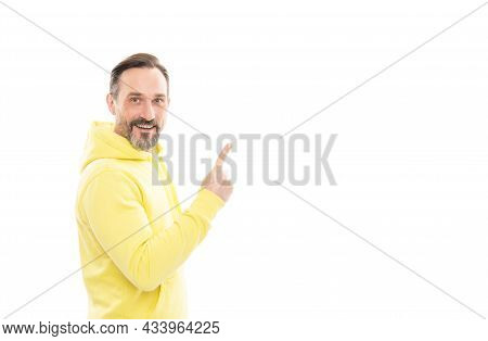 Your Advertising Here. Advisor Man In Yellow Hoody. Adult Guy Advertising. Male Casual Sporty Fashio
