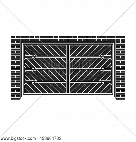 Door Garage Vector Black Icon. Vector Illustration Gate House On White Background. Isolated Black Il